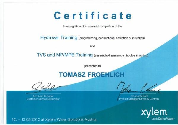 certyfikat Tomasz Froehlich