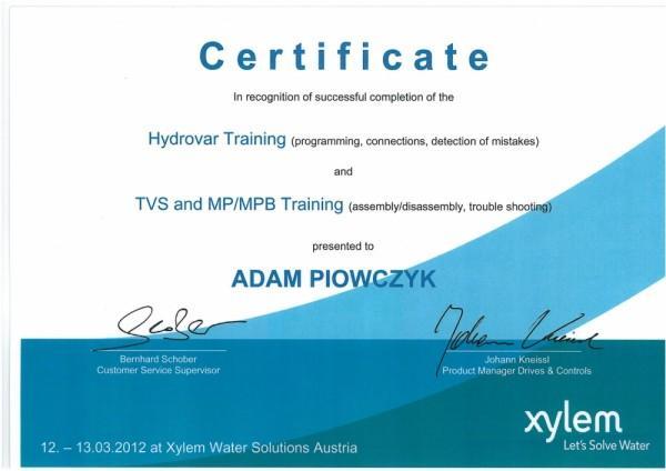 certyfikat Adam Piowczyk