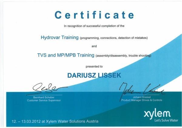 certyfikat Dariusz Lissek