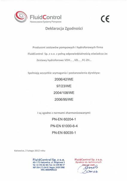 Deklaracja zgodności Fluidcontrol